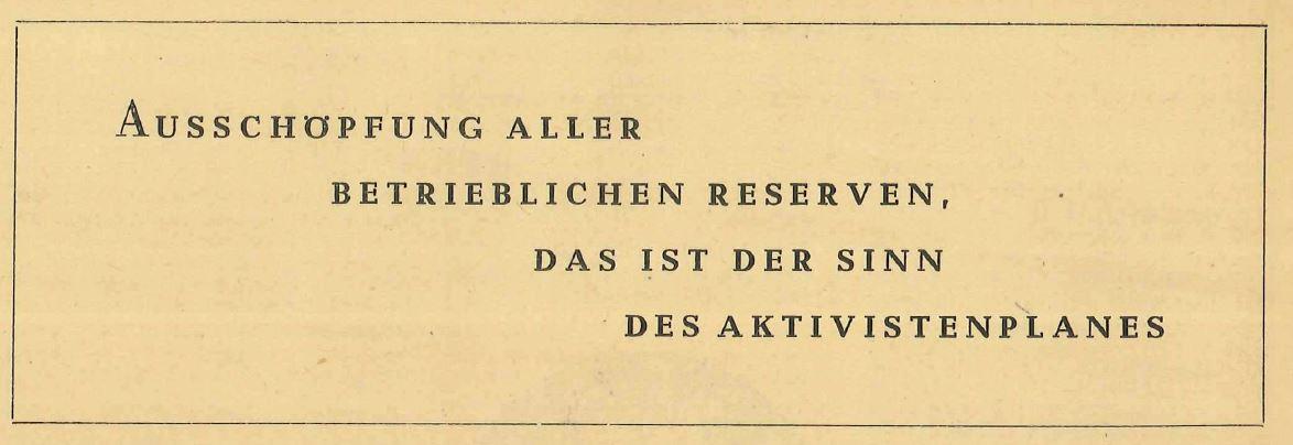 Der Aktivistenplan 1950/1951 – Aus der Geschichte des WF, Folge 16