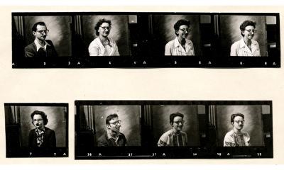 Rote-Nase FDJ: 7 Kollegen, Kontaktabzug 1955