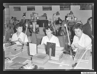 Brigade Gitterwickelei, 3 Frauen am Arbeitsplatz, Foto 1960