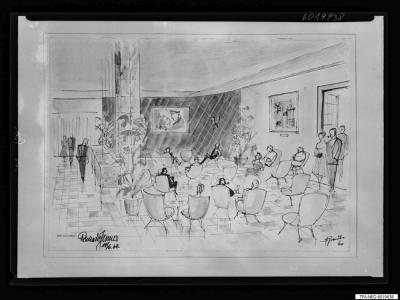 Gesellschaftliches Leben im Kulturhaus, Zeichnung, Reprofoto 1960
