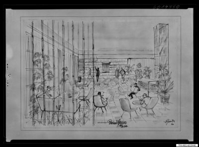 Gesellschaftliches Leben im Kulturhaus, Zeichnung, Repro 1960