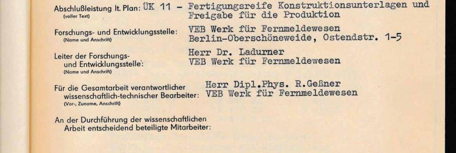 Quellen zur Geschichte des WF – Folge  3 – Forschungs- und Entwicklungsberichte aus dem OSW/HF/WF